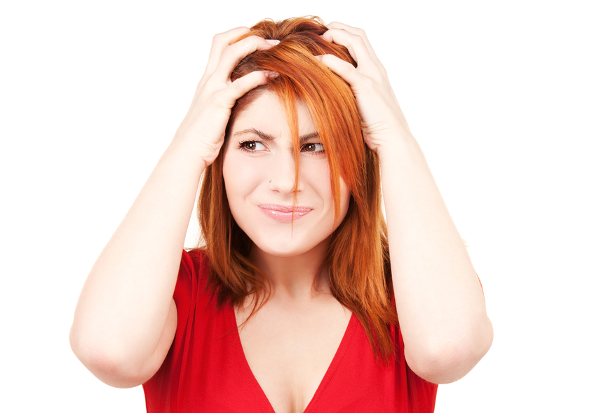 Woman Worried About Her Hair